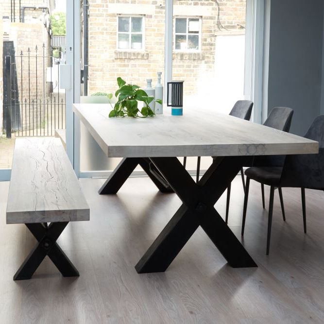 Best 25 dining table with bench ideas on pinterest - Steel kitchen tables ...