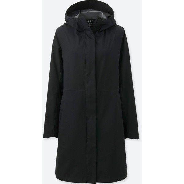 UNIQLO Women's Blocktech Coat ($80) ❤ liked on Polyvore featuring outerwear, coats, black, uniqlo, toggle coat, toggle button coat, uniqlo coats and full length coat