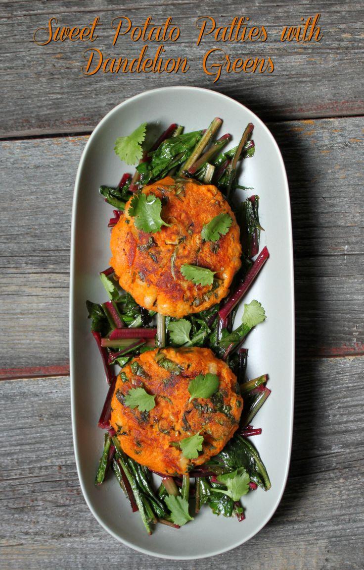 Sweet Potato Patties with Dandelion Greens | Dish 'n' the kitchen