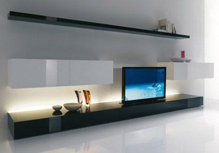 Pantalla de proyeccion incluída en el mueble de TV - DomoKing