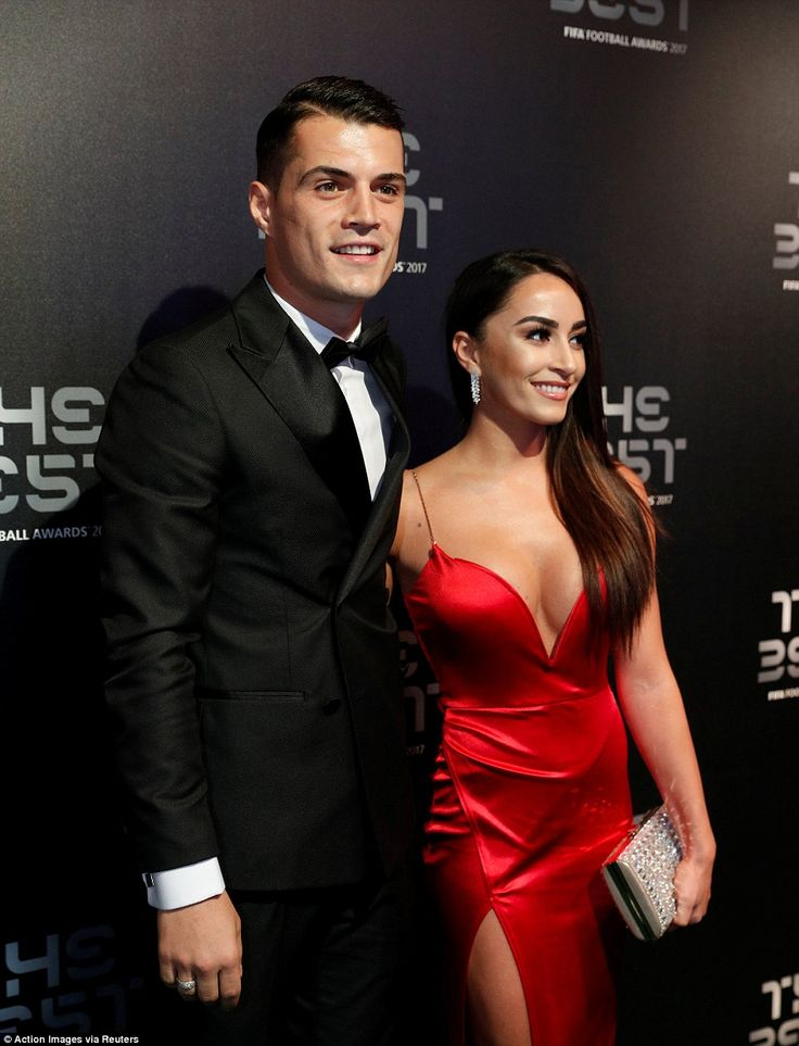 Arsenal midfielder Granit Xhaka attended the awards ceremony with his wife Leonita Lekaj on Monday evening