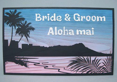 ハワイのシンポル的存在のダイヤモンドヘッドを、早朝のワイキキビーチから臨んだ景色をイメージしたデザイン。 #ダイヤモンドヘッド #ウェルカムボード