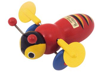 Buzzy Bee Wooden Pull Along toy. The classic toy that all kiwi kids grew up with and continue to grow up with.As you pull it along by its string the wings go round and round and it makes that clicking noise that gets louder as you go faster. Great fun