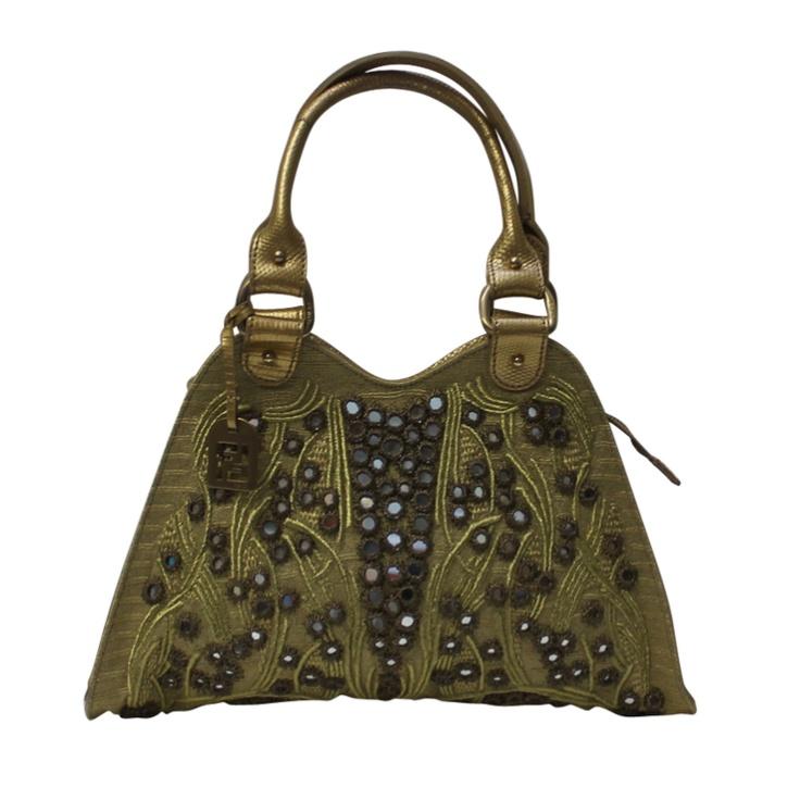 Vintage Fendi Handbag Gold with Mirror Circle,fendi purses, fendi baguette, designer handbags for less