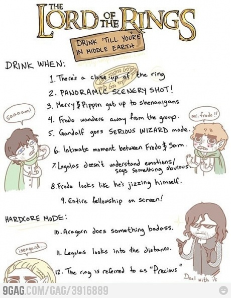 Lord of the Ring drinking game!The Lord, Nerd, Drinking Games, Drinks Games, Funny, Movie Night, Middle Earth, Lotr Drinks, Rings Drinks