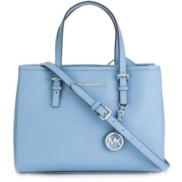 Michael Michael Kors Jet Set Travel Medium Shopping Bag (£170) ❤ liked on Polyvore featuring bags, handbags, tote bags, light blue, shopping tote, travel handbags, travel purse, tote purse and light blue handbag