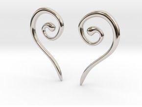 Medieval Half Heart earrings in Rhodium Plated