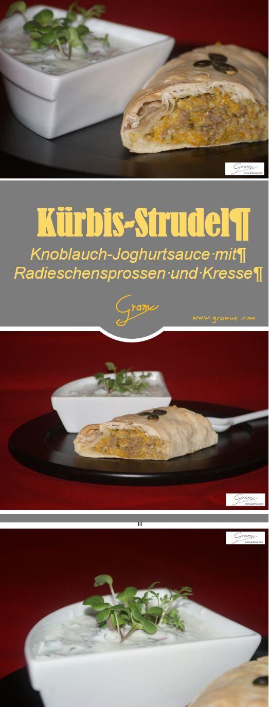 Ein Kürbis-Strudel mit Joghurt-Sauce (Kresse und Radieschensprossen) #Kürbis #Strudel #Joghurt #Kresse
