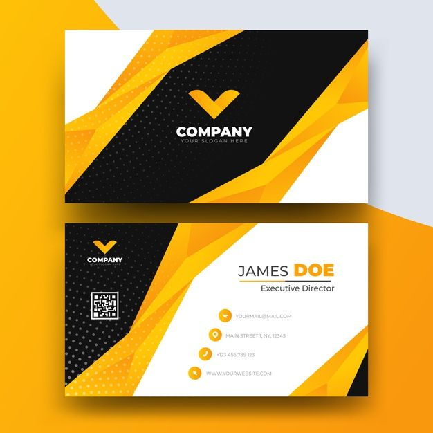 Abstract Business Card Template With Log Premium Vector