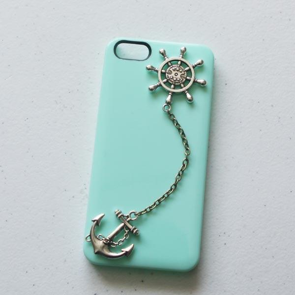 DURABLE anchor -rudder iphone case phone case iphone 5 case anchor -HARD iphone case. $7.99, via Etsy.