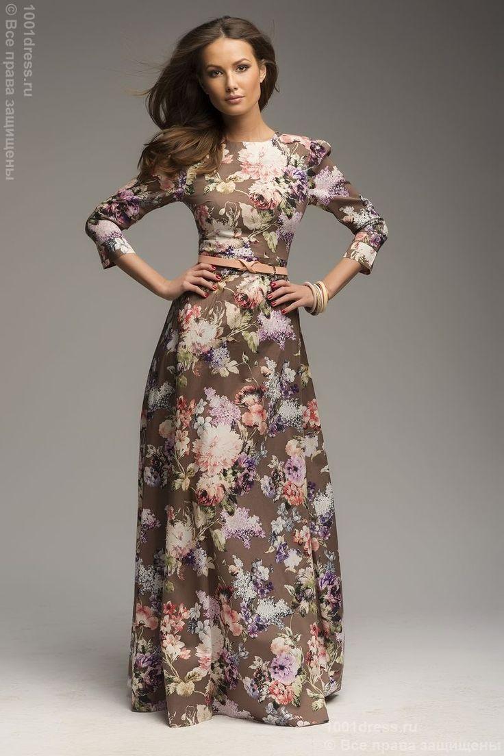 Платье длины макси шоколадное с крупным цветочным принтом и рукавом 3/4 DM00206FC , коричневый, мультиколор в интернет магазине Платья для самых красивых 1001dress.Ru
