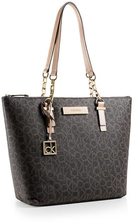 Calvin Klein Womens Jordan Logo Zip Top Tote Bag Handbag