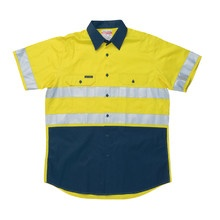 Hard Yakka 07557 Koolgear Hi-Visibility Two Tone Cotton Twill Ventilated Shirt with 3M Tape Short Sleeve