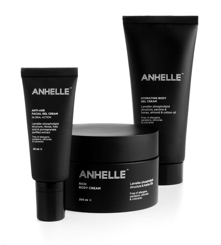 Anhelle cosmetics packaging designed by Alberto Aranda.
