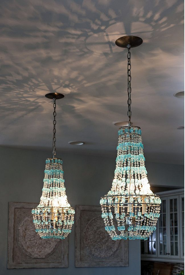 kitchen turquoise beaded chandelier pendants over island casabella home furnishings interiors - Turquoise Chandelier Light