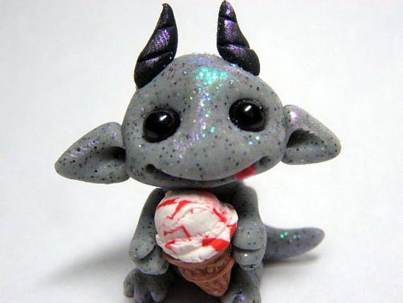 OOAK Stone Gargoyle Dragon Trollfling Troll baby with Cherry