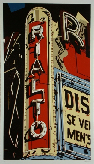 "unbelievable reduction linocut print with 9 colors, ""The Rialto"", 2008, Los Angeles"