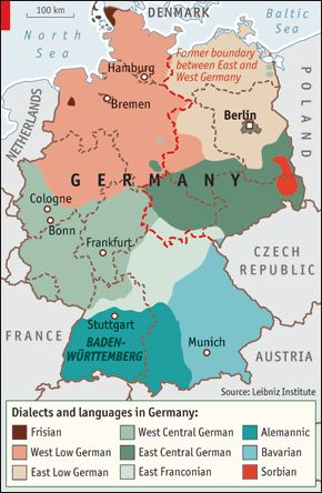 Article from The Economist: Sprechen Sie Deutsch? Sprechen Sie Deutsch? How linguistic variations affect where Germans choose to live // Finds that migrants respond to cultural factors more than to social ties.