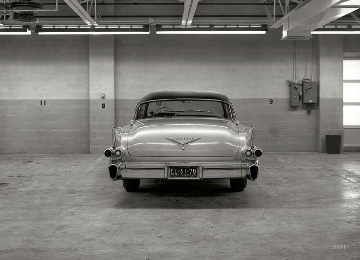 "A 1956 Cadillac Eldorado Seville photographed in 1955. From a series of 8x10 glossies with an ink stamp on the back reading ""Styling Department, Ford Motor Company, Dearborn Mich."" Keeping an eye on the competition."