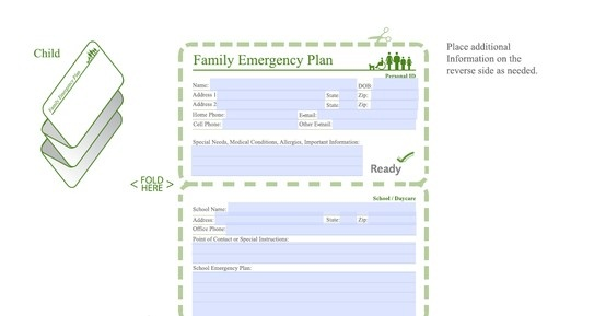 Family Emergency Plan, Child Emergency Contacts Card - Just download the PDF and fill out the info! (via FEMA at ready.gov)