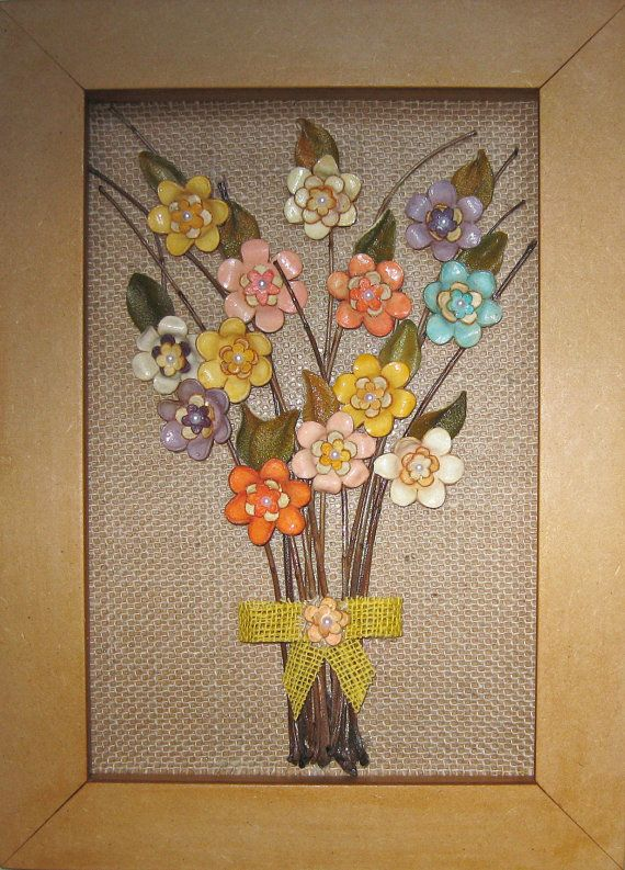 handmade frame wall decor bouquet of flowers orange by