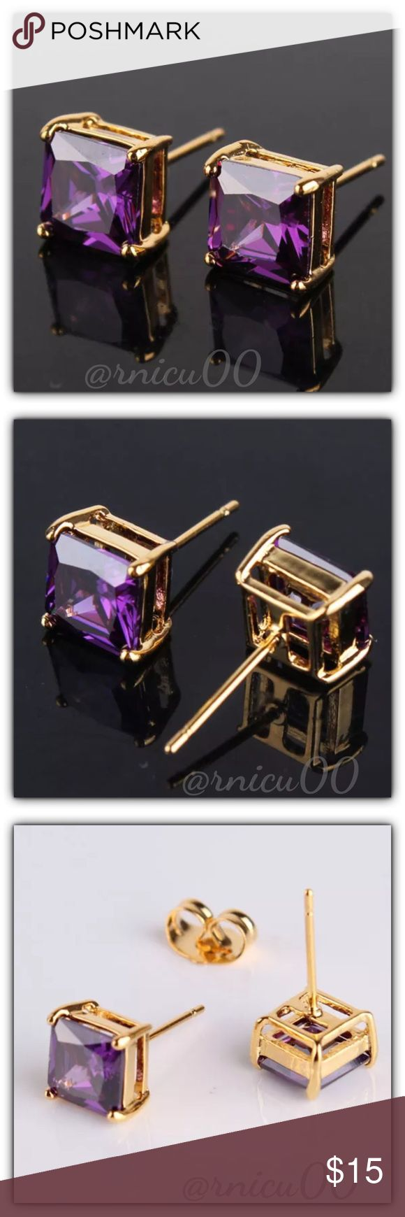 "🆕Fave RESTOCK!🆕Princess Amethyst Stud Earrings! These Princess Cut Earrings are Definitely a Favorite! Perfect Size 7mm (0.3"") Square Stones; Very Versatile, wear daily or Simple Classy! (gspa5-2717-0249)  🔆Part of ""Customer Favorite"" 1X Re-Stock Sale Event! 🔶100% of my Profit is being donated to Multiple Sclerosis (MS) Association - Please see last pic for Manufacturers description - Will ship Securely in Jewelry Box👌  *ALL items Marked at Absolute LOWEST Price unless Bundled! *NO…"