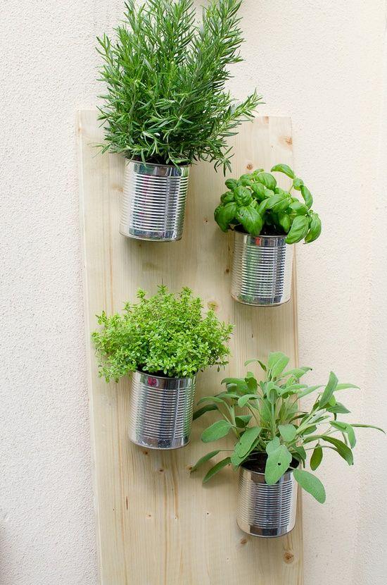DIY verticale tuin - hangende kruiden in blik.
