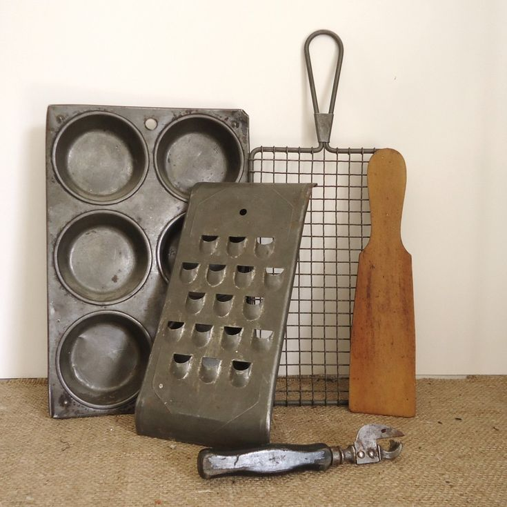 vintage kitchen ware 5 pc, antique Grater, butter paddle, muffin tin, strainer retro kitchen collectibles, colonial home, farmhouse country prim by RaggedyRee on Etsy