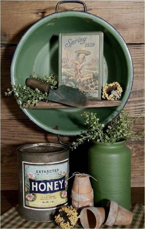Old farmhouse antique enamel wash tub repurposed wall cupboard garden gathering