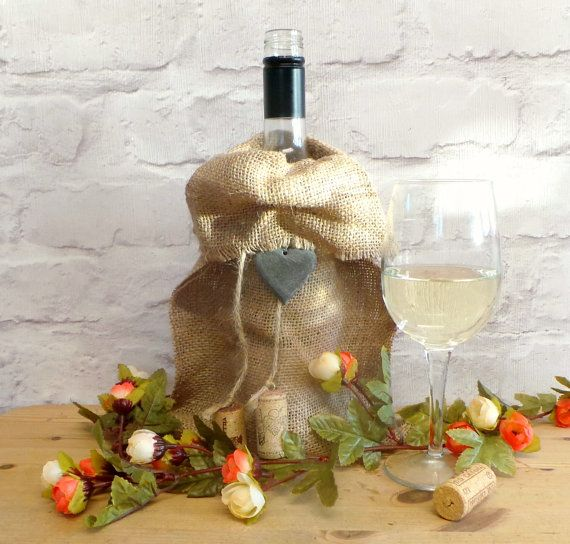 Cream and Orange Rose Decorated Burlap Wine Bag by SCWVintage