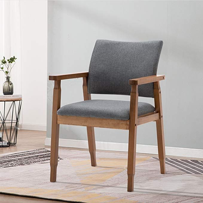 Amazon Com Set Of 2 Mid Century Modern Dining Chairs Wood Arm