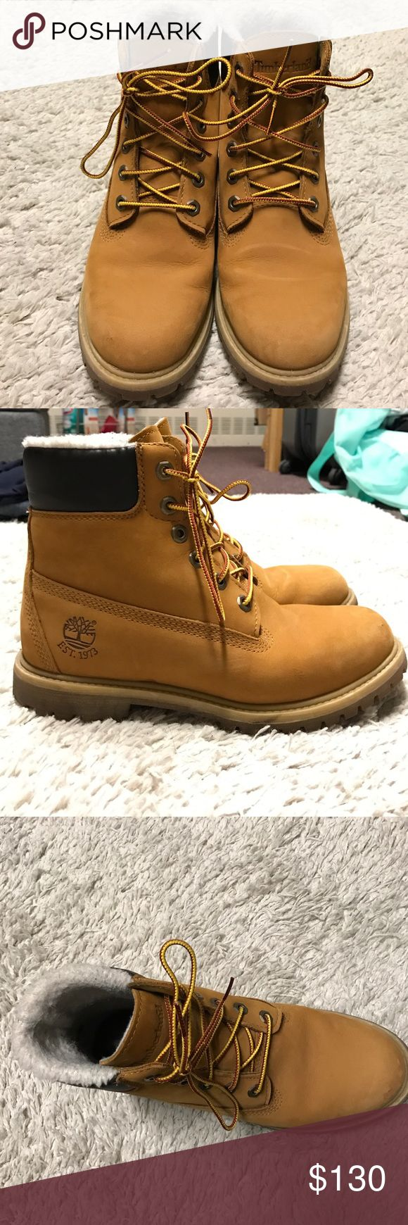 Timberland classic boots Nubuck timberland classic boots in great condition! Sherpa lined and slightly worn but great condition! Water proof as well! Timberland Shoes Winter & Rain Boots