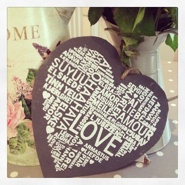Gorgeous hanging slate Love heart Slate heart with all different languages for the word love such as amour Beautiful to hang anywhere and makes a