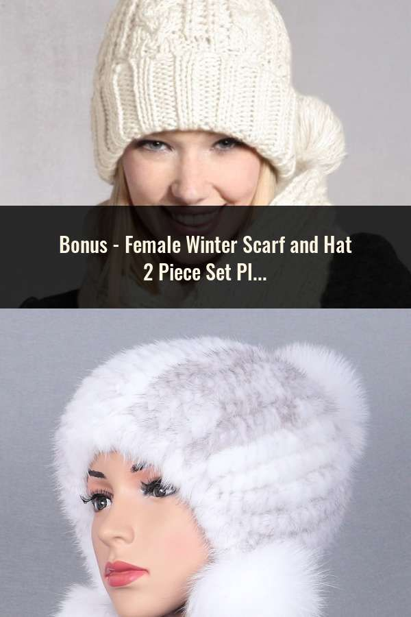 e9141aa0860 Female Winter Scarf and Hat 2 Piece Set Plush Ball Beanie Autumn Lady Warm  Knitted Cap