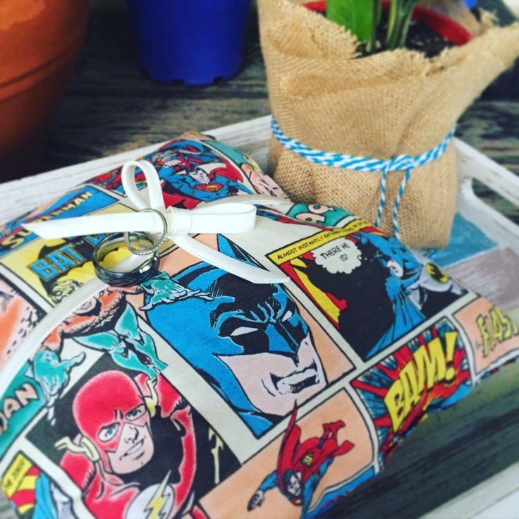 Superhero ring bearer. Page boy. Ring pillow. Super cute touch for a DC Comics fan.