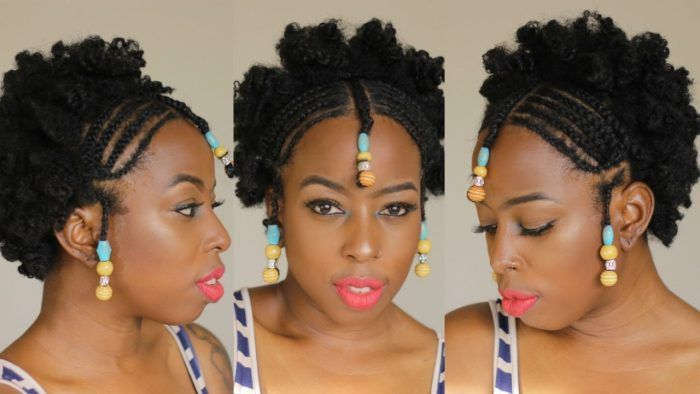 African Braids And Beads On Short Natural 4c Hair Braids With