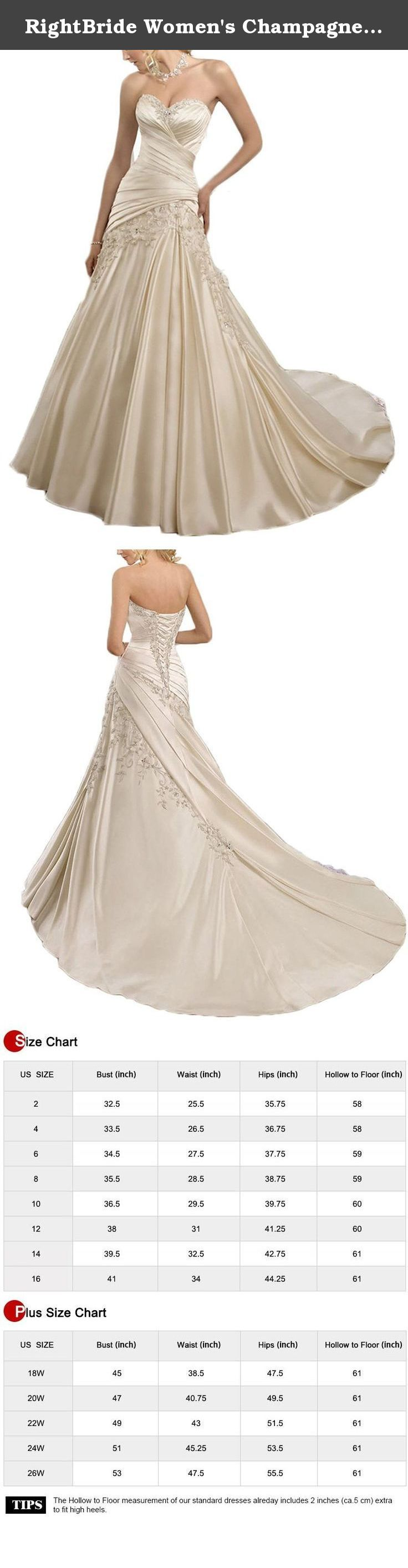 RightBride Women's Champagne Women Mermaid Wedding Dresses 2017 for Bride Satin Bridesmaid Gowns Lace Up Back Size 18W. RightBride Women's Champagne Women Mermaid Wedding Dress 2017 for Bride Satin Bridesmaid Gowns Lace Up Back Size 18W RightBride, Just as the store name indicates, is always dedicated to be the Right online shop on Amazon for wedding dresses for bride, So quality is our first priority. 1.With high quality fabrics, beads, pearls, crystals and threads, RightBride are always...