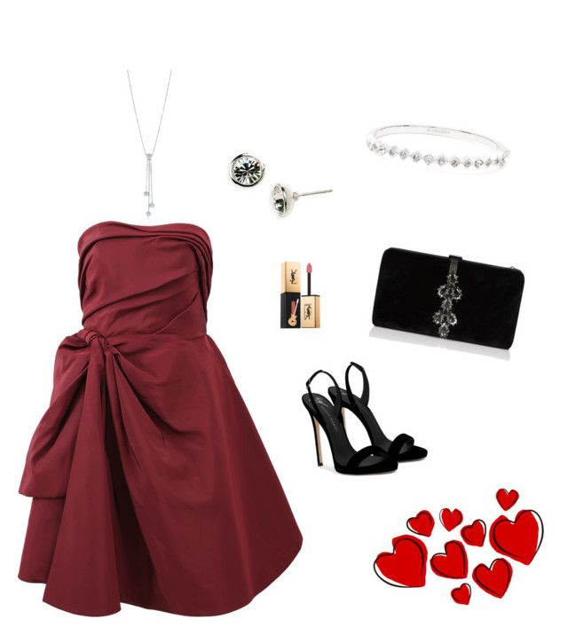 """""""red dress"""" by nanaristha on Polyvore featuring Oscar de la Renta, Giuseppe Zanotti, Dsquared2, Tiffany & Co., Givenchy and Yves Saint Laurent"""