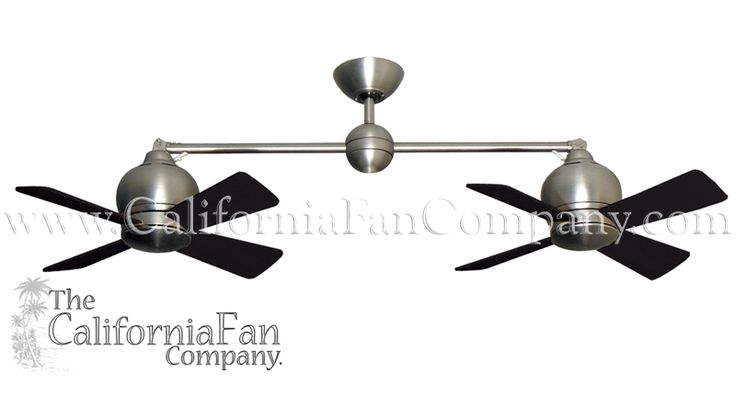Metropolitan Double Ceiling Fan Satin Steel 2 X Sweep   The California Fan  Company