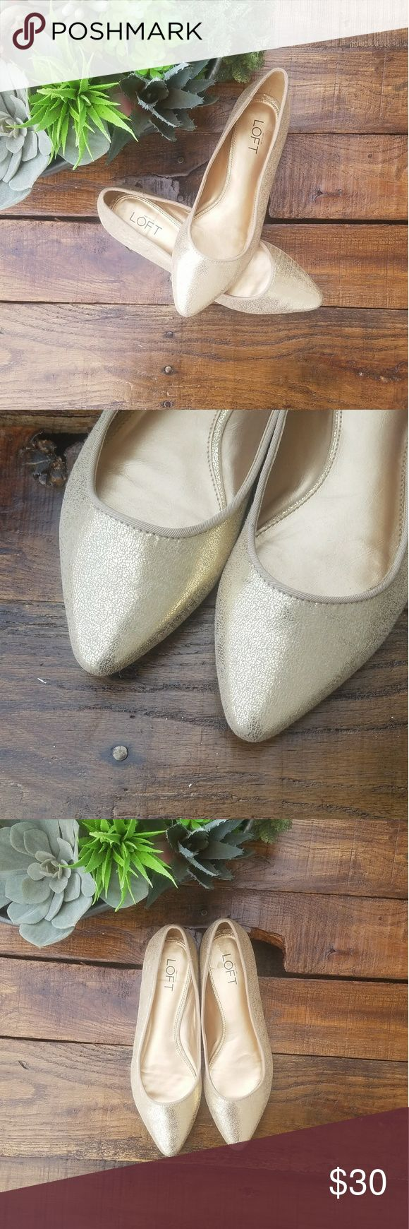 Ann Taylor Loft Gold Pointed Toe Ballet Flats Great condition Ann Taylor Loft gold metallic ballet flats. Bottoms are as pictured. Perfect for the holidays and new years eve!  SIZE: 7.5 BRAND: Ann Taylor Loft COLOR: Gold LOFT Shoes Flats & Loafers