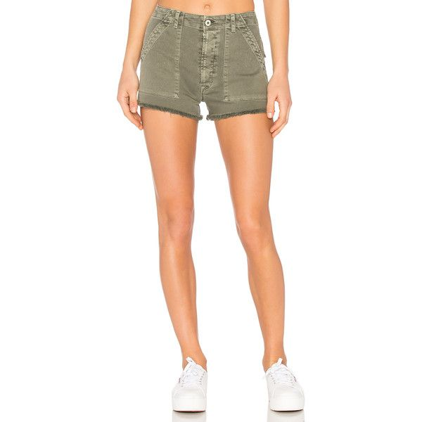 Hudson Jeans Mika Military Short ($165) ❤ liked on Polyvore featuring shorts, button fly shorts, hudson jeans, military style shorts, military shorts and short shorts