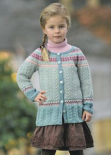 girl knit cardigan, jacket, coat cables fair isle colorwork