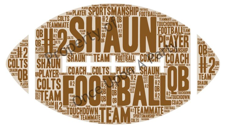 Football word cloud. Can be customized with any words, names, phrases, colors, etc. Digital images only $5. Order at https://form.jotform.com/62764613896166