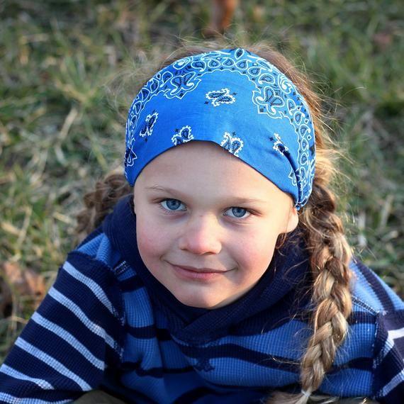 Boy's Royal Blue Bandana Headband, Biker Headband, Motorbike Headband, Males's Bandanna Headwrap Hair