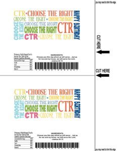 """NEW!! 2017 Themed """" Choose The Right""""  Candy Bar Wrapper Just print it out and wrap it like a real candy bar! They are always a hit  FREE at  www.theideadoor.com Come see ALL our free printables!"""