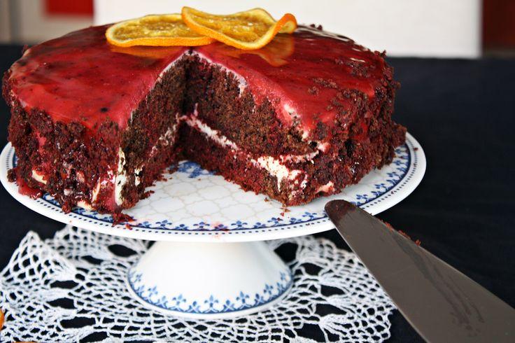 Red&brown velvet cake z kremem pomarańczowymi polewą lustrzaną