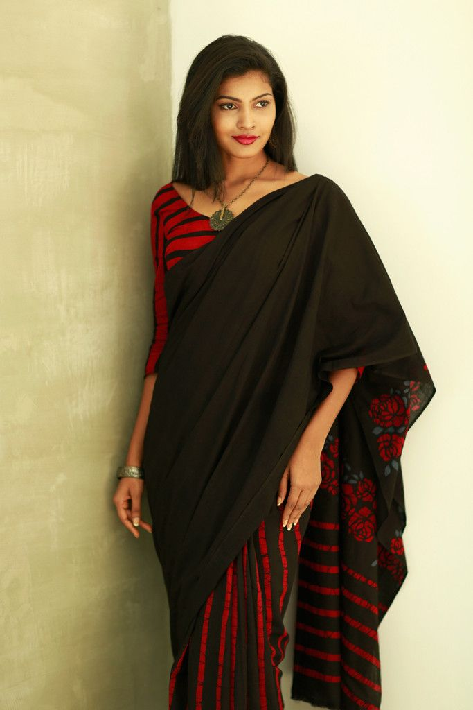 Beauty in black and red saree