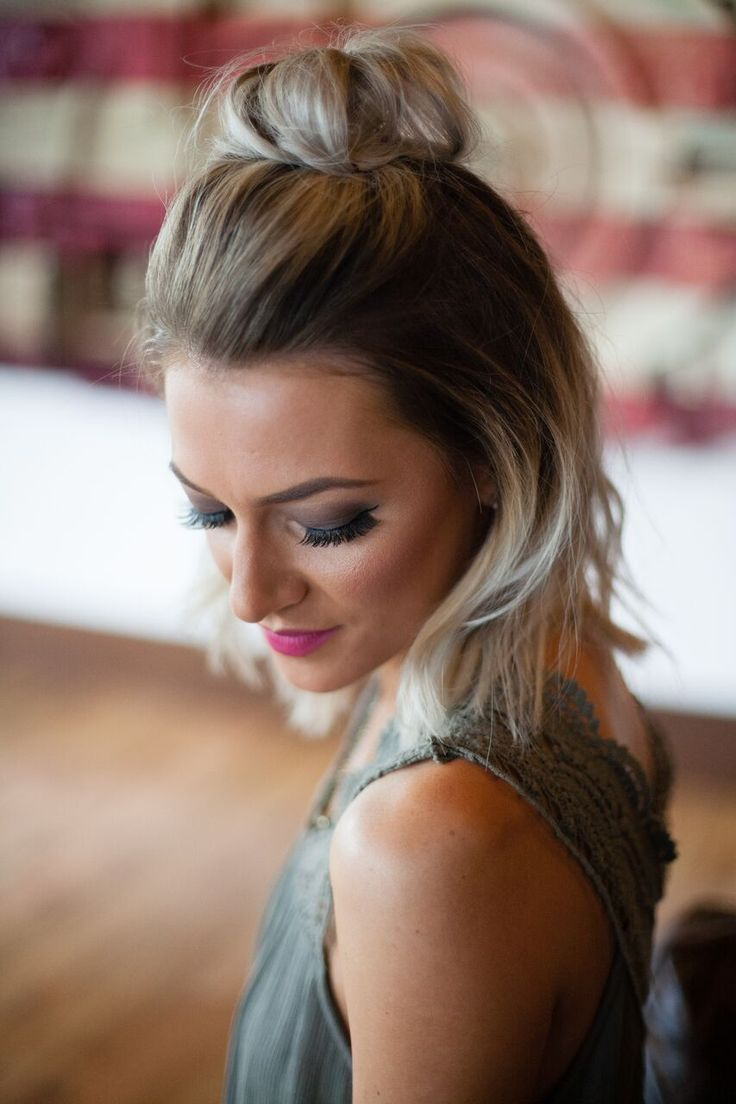 medium ash blonde ombre hair with top knot