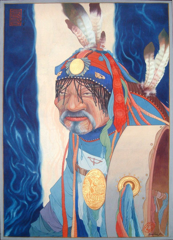 'SHAMAN' poster and water color, 2004