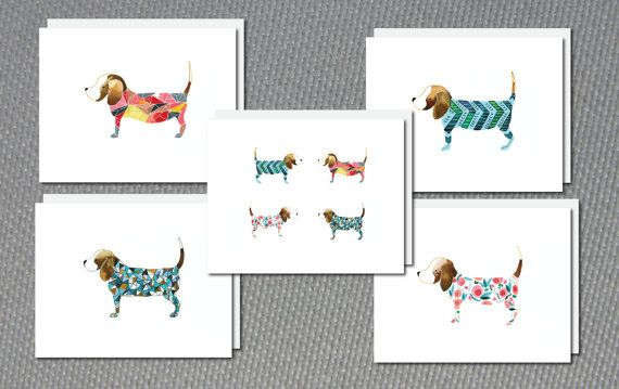 Greeting Card set of Beagles from original by JAQUELINEB on Etsy, $18.00